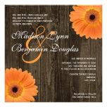 Rustic Wood Orange Daisy Square Wedding Invitation