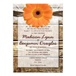 Rustic Wood Orange Daisy Wedding Invitations