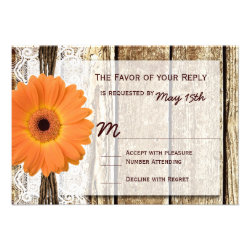 Rustic Wood Orange Daisy Wedding RSVP Cards