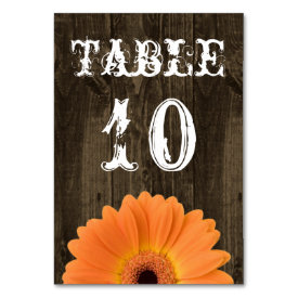 Rustic Wood Orange Daisy Wedding Table Number Card Table Cards