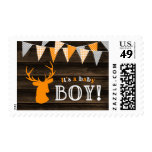Rustic Wood Orange Deer Boy Baby Shower Postage