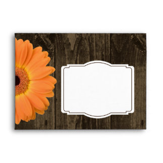 Rustic Wood Orange Gerber Daisy Custom Envelopes