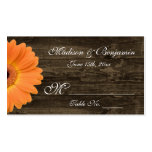 Rustic Wood Orange Gerber Daisy Wedding Place Card Business Cards