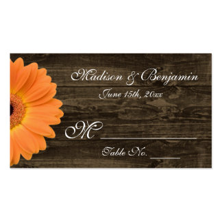 Rustic Wood Orange Gerber Daisy Wedding Place Card Double-Sided Standard Business Cards (Pack Of 100)