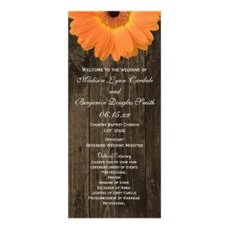Rustic Wood Orange Gerber Daisy Wedding Programs Full Color Rack Card