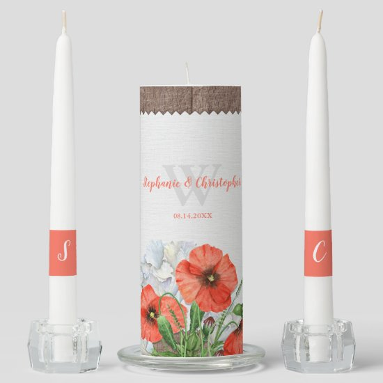 Rustic Wood Orange Poppies Monogram Unity Candle