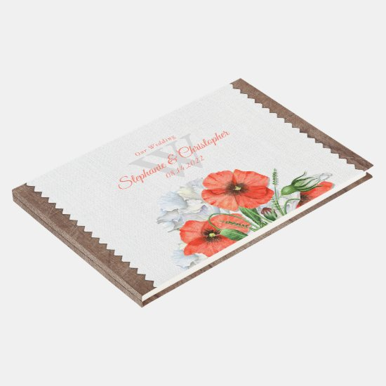 Rustic Wood Orange Poppies Wedding Guest Book