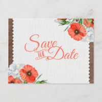 Rustic Wood Orange Poppies Wedding Save the Date Announcement Postcard
