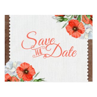 Rustic Wood Orange Poppies Wedding Save the Date