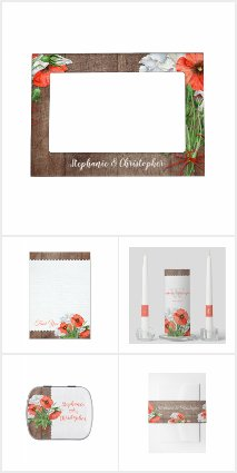 Rustic Wood Orange Poppy Floral Wedding