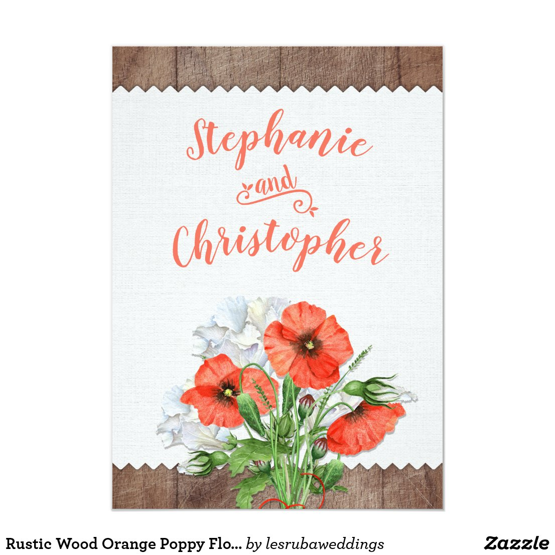 Rustic Wood Orange Poppy Floral Wedding Invitation