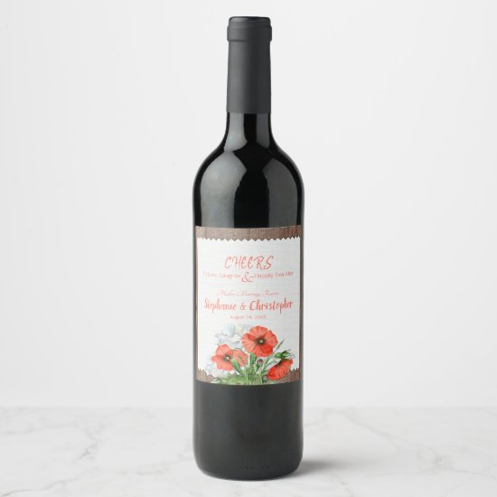 Rustic Wood Orange Poppy Floral Wedding Wine Label