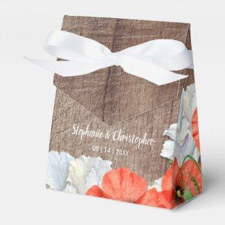Rustic Wood Orange Poppy Flowers Favor Box