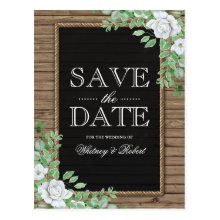 Rustic Wood Organic Greenery Floral Save the Date