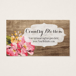 Rustic Wood, Painted Pink Flower - Country Blossom Business Card