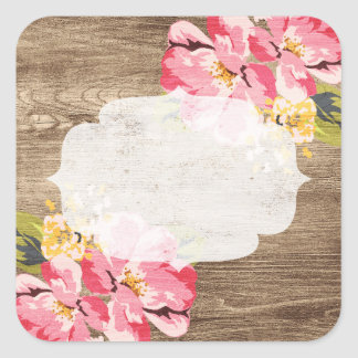Rustic Wood & Painted Pink Hibiscus Flower Country Square Sticker