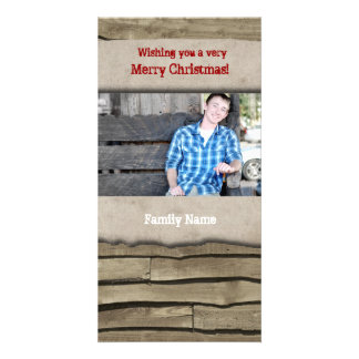 Rustic Wood Parchment Country Christmas Photo Card
