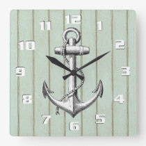 Rustic Wood Pattern and Vintage Anchor Nautical Square Wall Clock