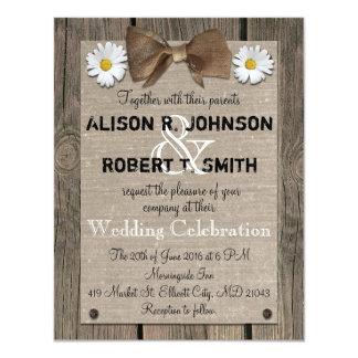Rustic Wood Pattern Wedding Invitation
