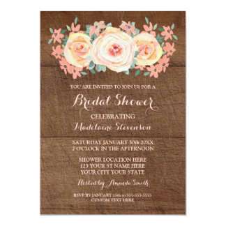 Rustic Wood Peach Watercolor Floral Bridal Shower Card