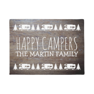 Rustic Wood Personalized Camping | Happy Campers Doormat