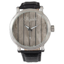 rustic wood personalized design watch
