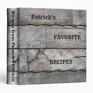 Rustic Wood Personalized Recipe Binder