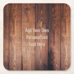 """Rustic wood Personalized Text Square Paper Coaster<br><div class=""""desc"""">Rustic wood Personalized Text Coaster. Choose the shape of coaster from the options menu.</div>"""