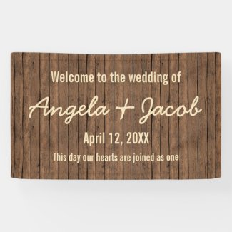 Rustic Wood Personalized Wedding Banner