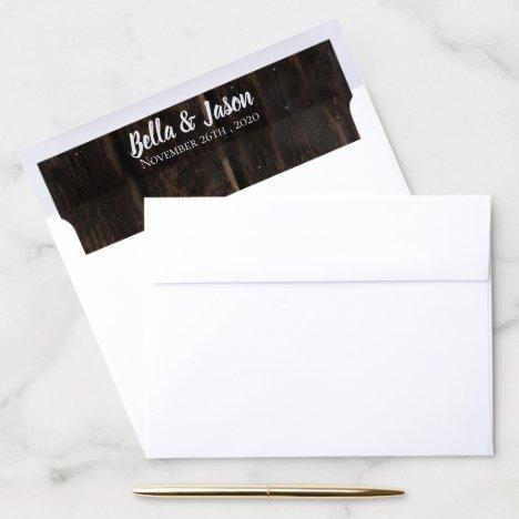 Rustic Wood Personalized Wedding Envelope Liner