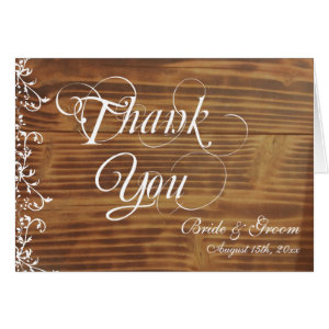 Rustic Wood Personalized Wedding Thank You Card