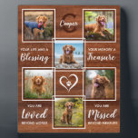 "Rustic Wood Pet Memorial Unique Photo Collage Plaque<br><div class=""desc"">Celebrate your best friend with a custom pet memorial photo collage plaque in a natural rustic wood design. This unique memorial pet dog photo keepsake plaque is the perfect gift for yourself, family or friends to honor those loved . We hope your photo memorial plaque will bring you joy ,...</div>"