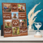 """Rustic Wood Pet Memorial Unique Photo Collage Plaque<br><div class=""""desc"""">Celebrate your best friend with a custom pet memorial photo collage plaque in a natural rustic wood design. This unique memorial pet dog photo keepsake plaque is the perfect gift for yourself, family or friends to honor those loved . We hope your photo memorial plaque will bring you joy ,...</div>"""