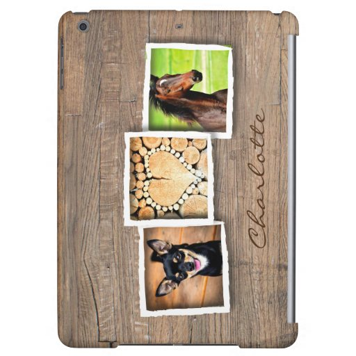 Rustic Wood Photo Collage Custom Case For iPad Air