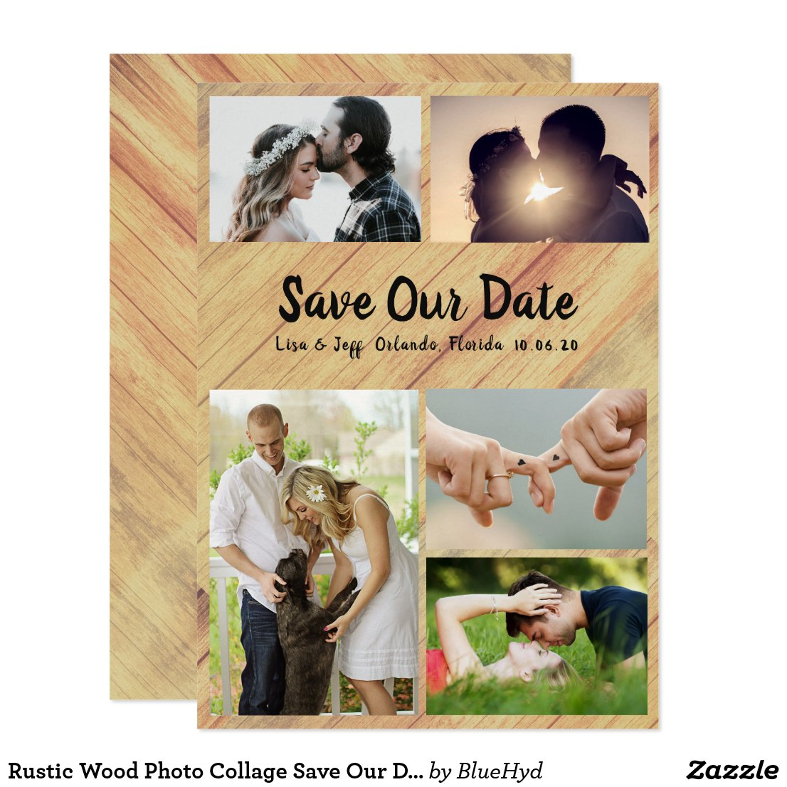 Rustic Wood Photo Collage Save Our Date Cards