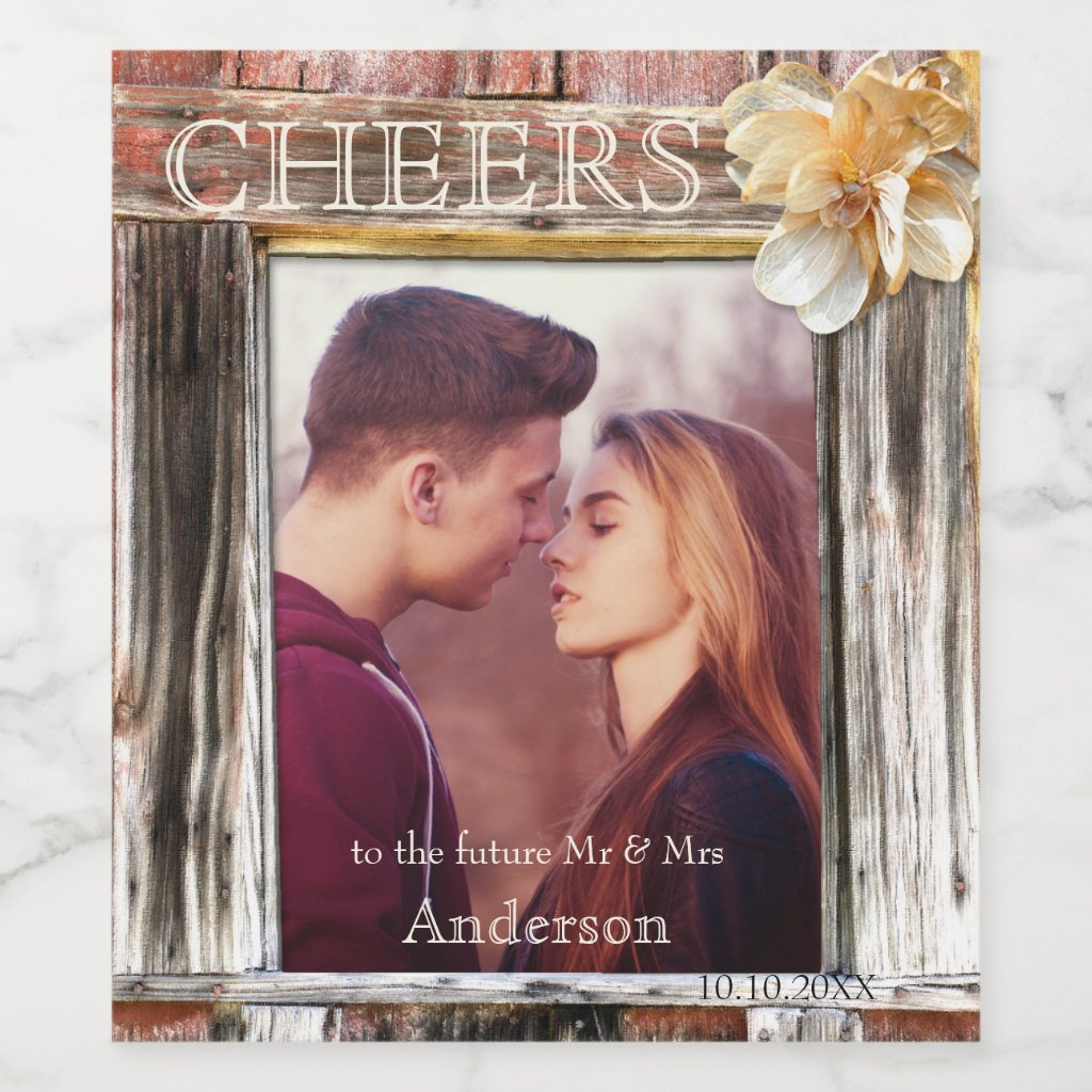 Rustic Wood Photo Engagement Wine Label