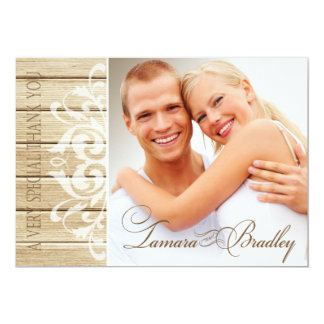 Rustic Wood Photo Thank You | blonde white Card