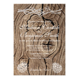 Rustic Wood Pine Cones Country Wedding Invitations Personalized Invite