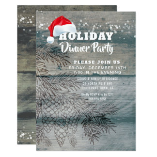Rustic Wood Pine Cones Holiday Party Invitation