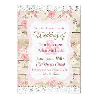 Rustic Wood Pink and Tan Floral Wedding Invitation