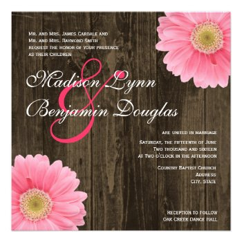 Rustic Wood Pink Daisy Square Wedding Invitations