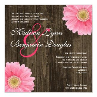 "Rustic Wood Pink Daisy Square Wedding Invitations 5.25"" Square Invitation Card"