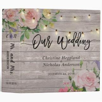 Rustic Wood Pink Floral String Light Wedding Album 3 Ring Binder