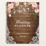 "Rustic Wood Pink Floral String Lights Lace Wedding Planner<br><div class=""desc"">Rustic Wood Pink Floral String Lights Lace Wedding Planner.</div>"