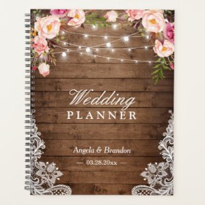 Rustic Wood Pink Floral String Lights Lace Wedding Planner