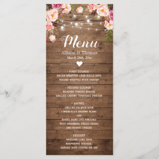 Rustic Wood Pink Floral String Lights Wedding Menu