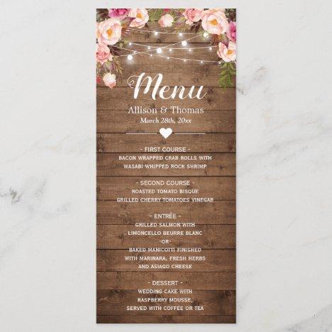Rustic Wood Pink Floral String Lights Wedding Menu