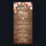 """Rustic Wood Pink Floral String Lights Wedding Menu<br><div class=""""desc"""">Rustic Wood Pink Floral String Lights Wedding Menu Card.  (1) For further customization,  please click the &quot;Customize&quot; button and use our design tool to modify this template.  (2) If you need help or matching items,  please contact me.</div>"""