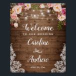 "Rustic Wood Pink Floral String Lights Wedding Sign<br><div class=""desc"">Create your own Wedding Sign with this &quot;Rustic Wood Pink Floral String Lights Welcome Poster&quot; template to match your wedding colors and style. This high-quality design is easy to personalize to be uniquely yours! (1) The default size is 8 x 10 inches, you can change it to any size. (2)...</div>"