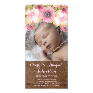 Rustic Wood Pink Flowers Thank You Baby Shower Card